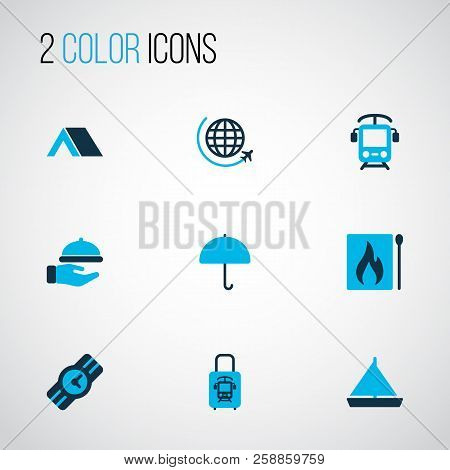 Journey Icons Colored Set With Yacht, Matches, Waiter And Other International Aviation Elements. Iso
