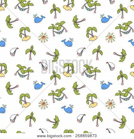 Green Coco Palm Trees, Yacht And Whale. Vector Seamless Pattern On White Background. Marine Vacation