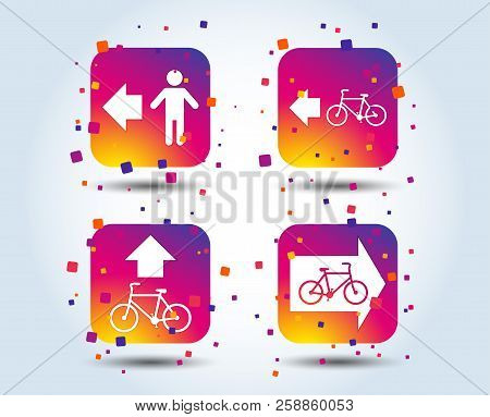 Pedestrian Road Icon. Bicycle Path Trail Sign. Cycle Path. Arrow Symbol. Colour Gradient Square Butt