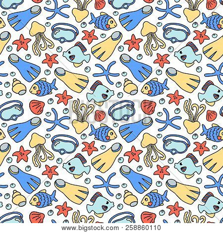 Snorkeling Mask And Fins With Coral Fishes. Vector Seamless Pattern On White Background. Marine Vaca