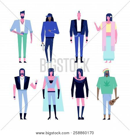 Colorful Flat Characters, Subculture Music Genre Apparel Style Concept.flat People Outfit Styles Div