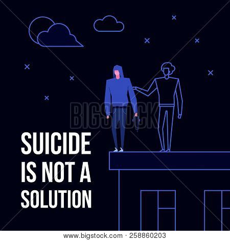 Modern Flat Suicide Mental Illness Disorder Prevention Prophylaxis Concept.flat Style Characters On