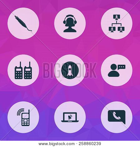 Communication Icons Set With Mobile Connection, Linked Computers, Portable Radios And Other Communic