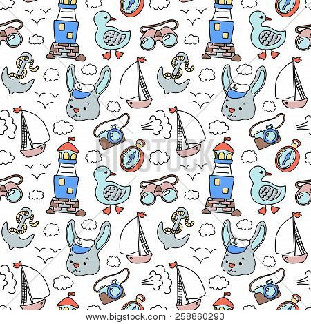 Rabbit Sailor And Lighhouse, Nautical Pattern. Vector Seamless Pattern On White Background. Marine V