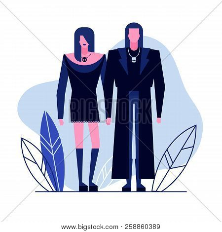 Colorful Flat Characters, Subculture Music Genre Apparel Style Concept.flat People, Man And Women In