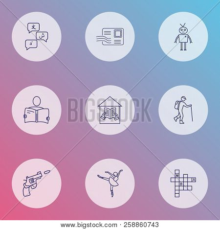 Lifestyle Icons Line Style Set With Languages, Reading, Ballet And Other Reading Elements. Isolated
