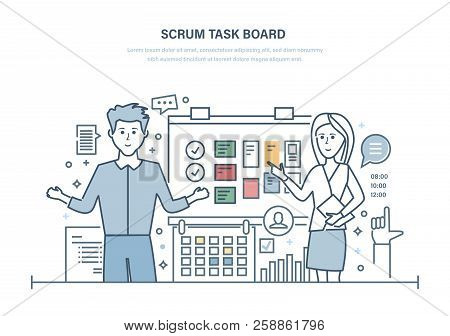 Scrum Task Board. Organizing Working Hours, Project Management, Planning Tasks.