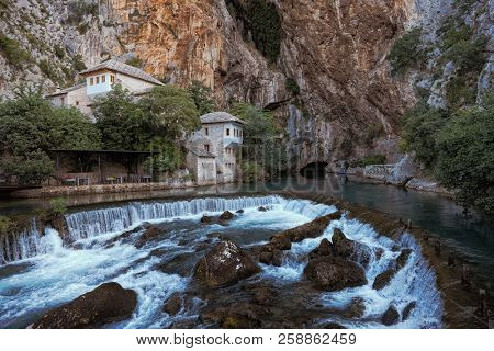 Blagaj Tekke (a Sufi lodge) stands by the source of the Buna river, Bosnia And Herzegovina