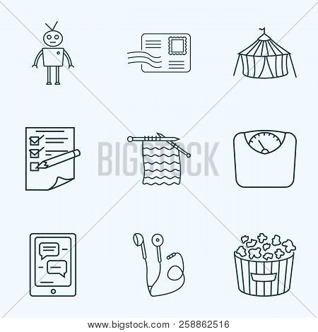 Entertainment Icons Line Style Set With Planning, Postcrossing, Robots And Other Chatbot Elements. I
