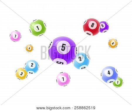 Flying Realistic 3d Balls With Random Numbers. Lottery, Bingo, Lotto.