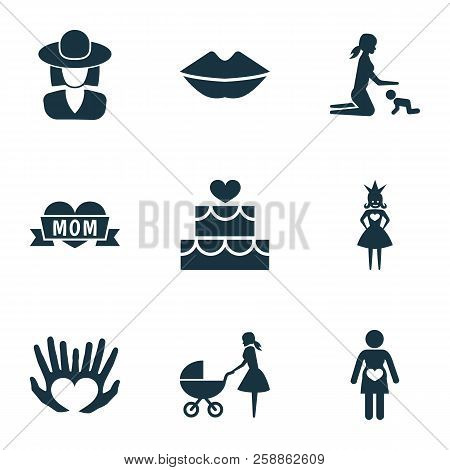 Mothers Day Icon Design Concept. Set Of 9 Such Elements As Lips, Pregnant Woman And Perambulator. Be