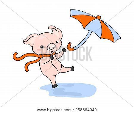 Piglet And Umbrella Funny Scene Vector Illustration On White Background. Autumn Season Scene With Cu
