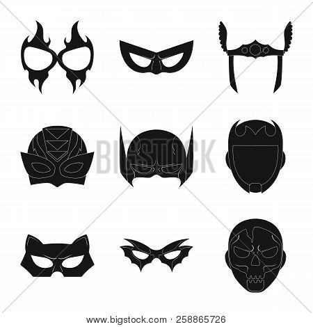 Isolated Object Of Hero And Mask Logo. Set Of Hero And Superhero Vector Icon For Stock.