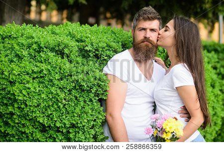 Gentle Kiss. Man Bearded Hipster Hugs Gorgeous Girlfriend. Couple Love Romantic Date Walk Nature Par