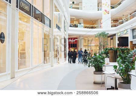 September 2018, Istanbul, Turkey. Bright Premise Of A Modern Shopping Center With Shops And Visitors
