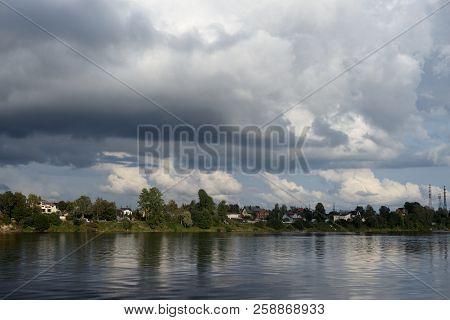 View of Neva River at cloudy day on the outskirts of St.Petersburg, Russia. poster