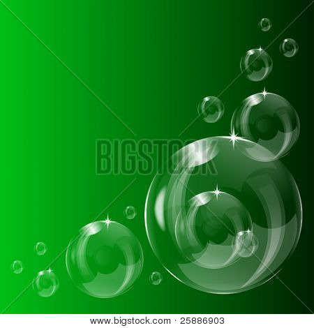 A series of transparent bubbles on a green background saved in EPS10 format