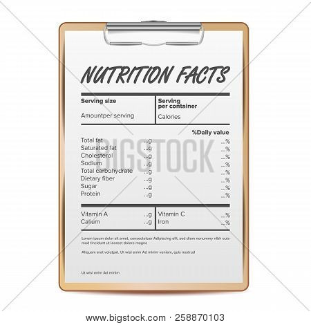 Nutrition Facts Vector. Blank, Template. Food Content. Fat Information. Protein Sport. Grams And Per