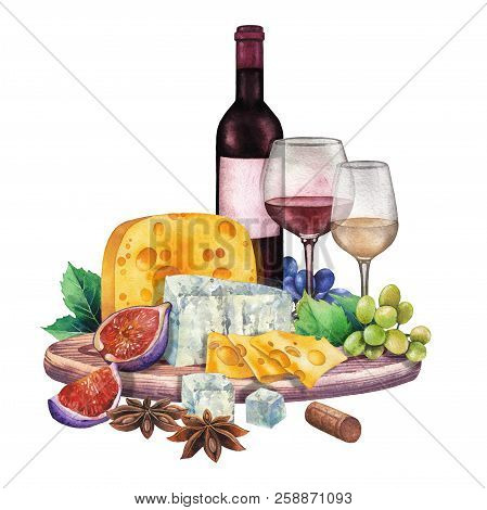 Watercolor Wine Glass And Bottle Decorated With Delicious Food