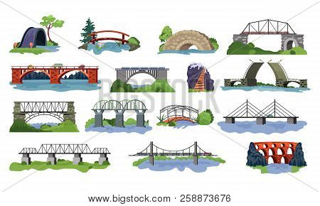 Bridge Vector Bridged Urban Crossover Architecture And Bridge-construction For Transportation Illust
