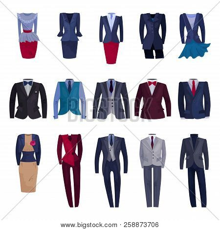 Business Suit Vector Businessman Or Businesswoman Corporate Suited Clothes Illustration Set Of Manag