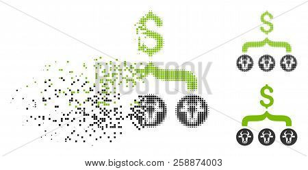 Cows Result Dollar Icon In Dissolved, Pixelated Halftone And Entire Versions. Particles Are Arranged