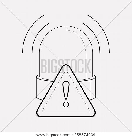Warning Alert Icon Line Element.  Illustration Of Warning Alert Icon Line Isolated On Clean Backgrou