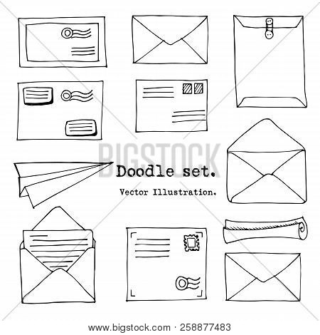 Hand Drawn Mail, Post, Letter,envelope, Paper Plane Set. Vector Illustration. Doodle Elements. Mail