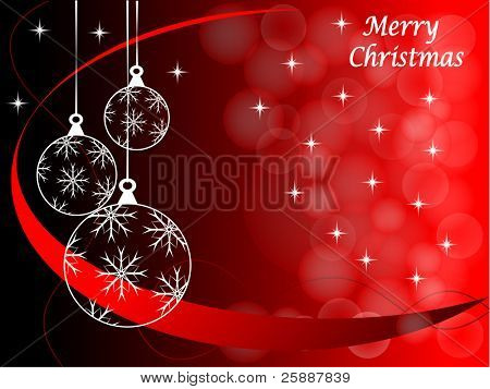 Christmas background illustration with baubles on a red backdrop