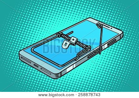 Smartphone Phone Mousetrap. Trap And Dangers. Comic Cartoon Pop Art Retro Vector Illustration
