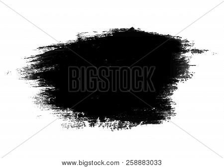 Grunge Stain Drawn By A Large Brush. Vector Black Brush Stroke. For Any Of Your Text. Vector Illustr