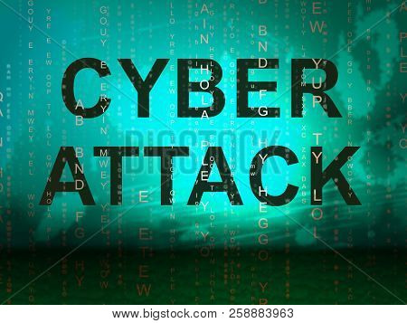 Cyberattack Malicious Cyber Hack Attack 2D Illustration