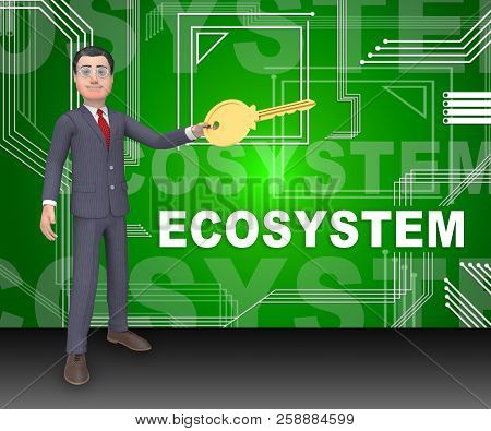 Digital Eco System Data Interaction 3D Rendering