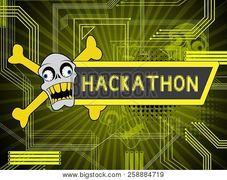 Hackathon Technology Threat Online Coding 2D Illustration
