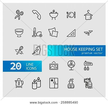 House Keeping Icons. Set Of  Line Icons. Utensils, Domestic Appliance, Housecleaning. Housekeeping C