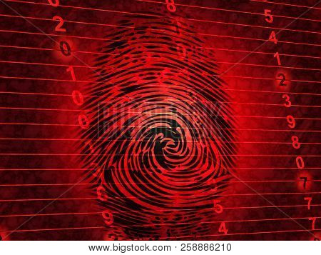 Identity Access Management Fingerprint Entry 3D Illustration