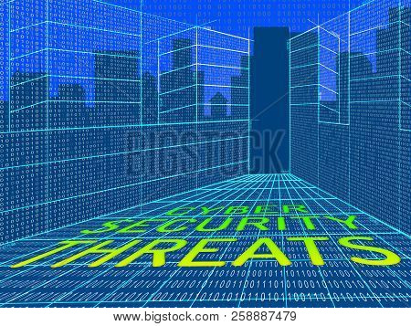 Cybersecurity Threats Cyber Crime Risk 3D Illustration