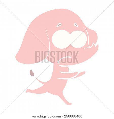 flat color style cartoon unsure elephant running away