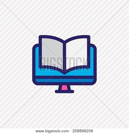 Illustration Of Ebook Icon Colored Line. Beautiful Education Element Also Can Be Used As Online Read