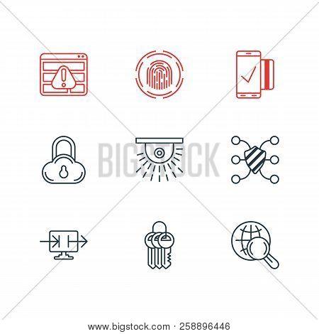 Illustration Of 9 Security Icons Line Style. Editable Set Of Access Denied, Fingerprint Scanner, Clo