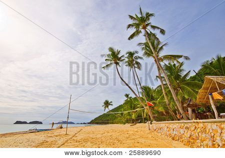 Tropical Beach With Volleyball net