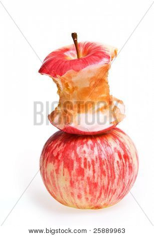 Two Apples - one full and one eaten
