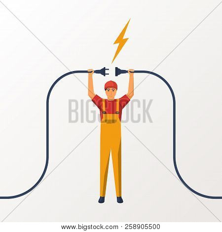Electrical Outlet And Plug In The Hands Of The Worker. Unplug, Plugged Socket. Vector Illustration F