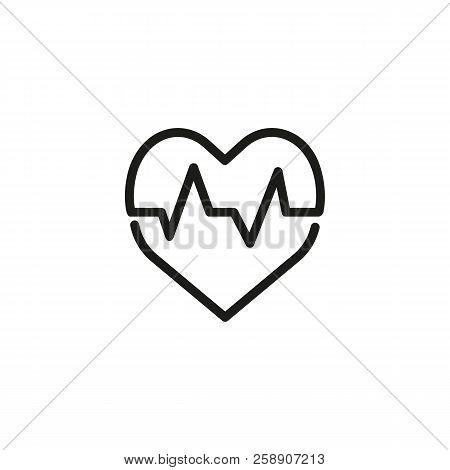 Heart Beat Line Icon. Heart Shape, Cardiograph, Cardiogram. Health Care Concept. Can Be Used For Top