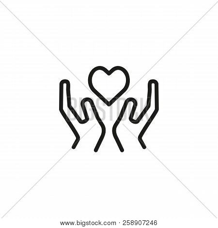 Heart Disease Prevention Line Icon. Hand Holding Heart. Healthcare Concept. Can Be Used For Topics L