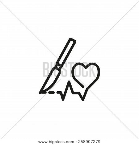Heart Surgery Line Icon. Heart Shape, Cardiograph, Scalpel. Health Care Concept. Can Be Used For Top