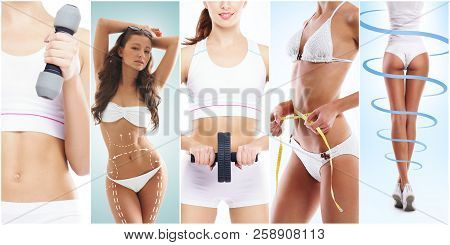 Beautiful And Fit Woman In A Fitness Workout. Isolated Collage. Sport, Nutrition, Health And Weight