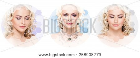 Human Face In A Collage. Young And Healthy Woman In Plastic Surgery, Medicine, Spa And Face Lifting