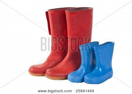 Pairs of Stock Photo: A group of wellie boots isolated on a white background