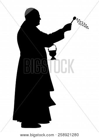 Catholic Bishop Sprinkling Holy Water. Isolated White Background. Eps File Available.